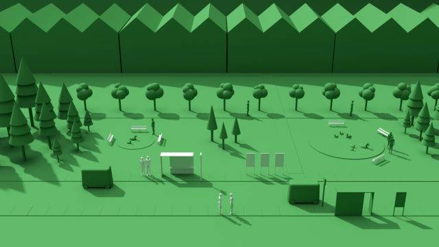 Green 3D computer rendered background showing a park with trees, a handful of people, public furniture and a row of houses