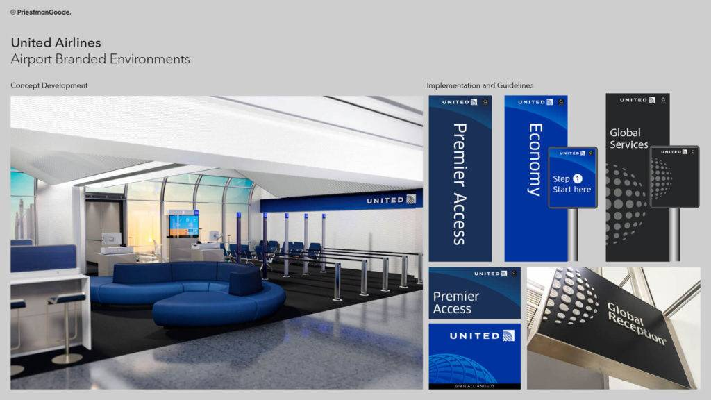United Airlines gate design with signage details