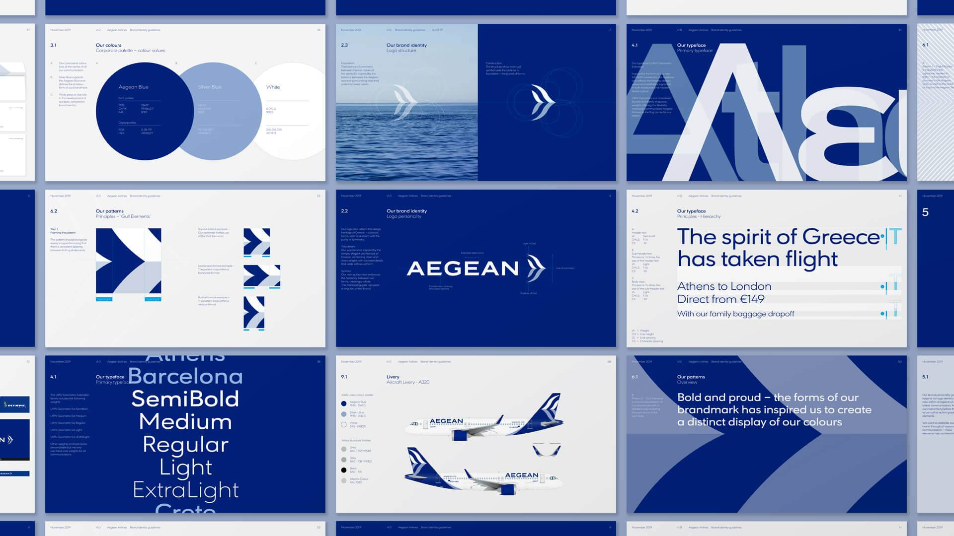 Selection of graphics, logos and fonts showing the new Aegean Airlines brand