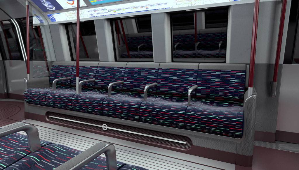 The interiors of a London Underground train carriage
