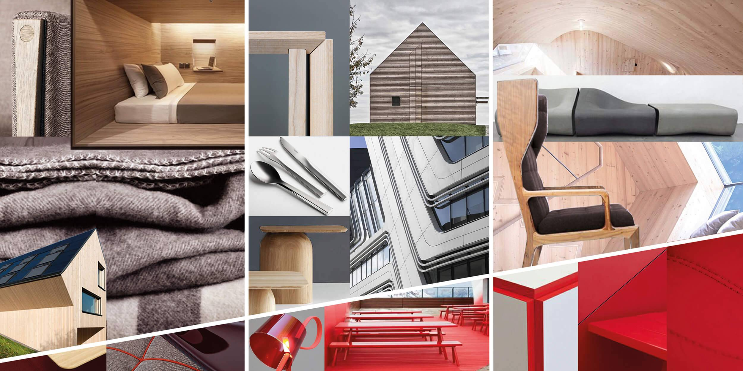 A moodboard of inspiration images showing architectural details, textures and colours
