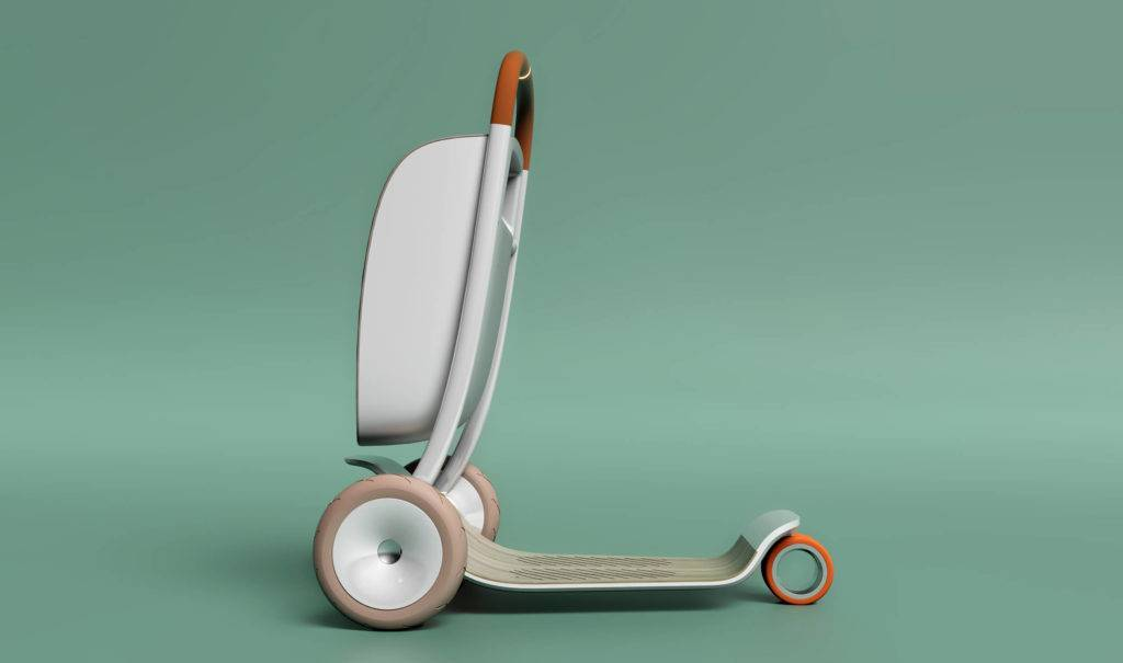 Side view of a personal scooter, with a large storage bag in front, set against a light turquoise backdrop