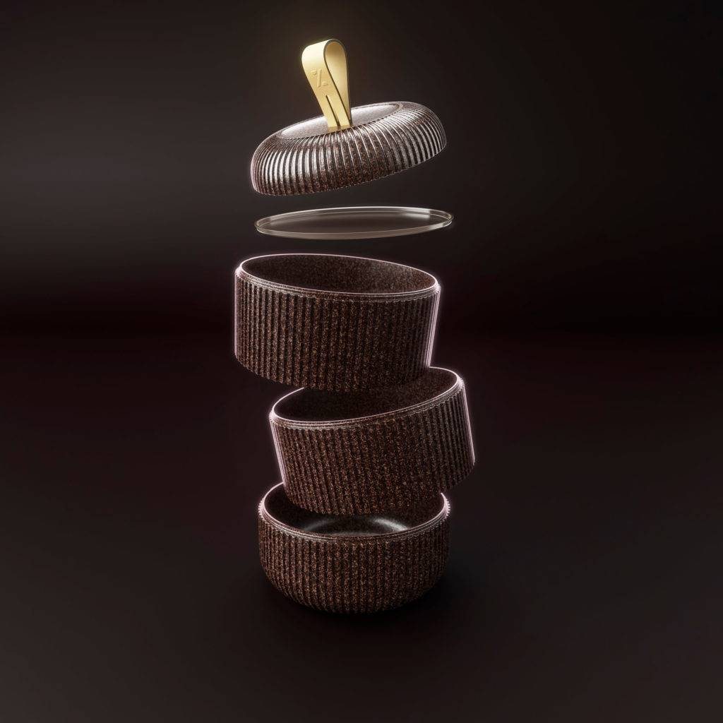 Exploded view of a stacked brown bento box style food container, against a dark background