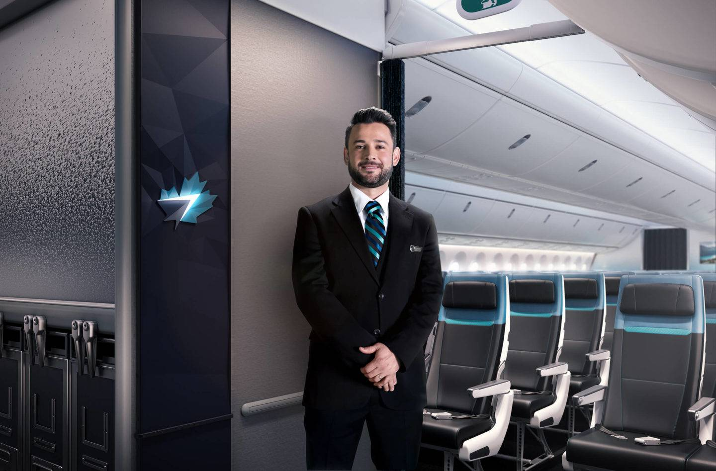 A cabin crew stands next to a brand panel with the WestJet logo at the entrance of the aircraft