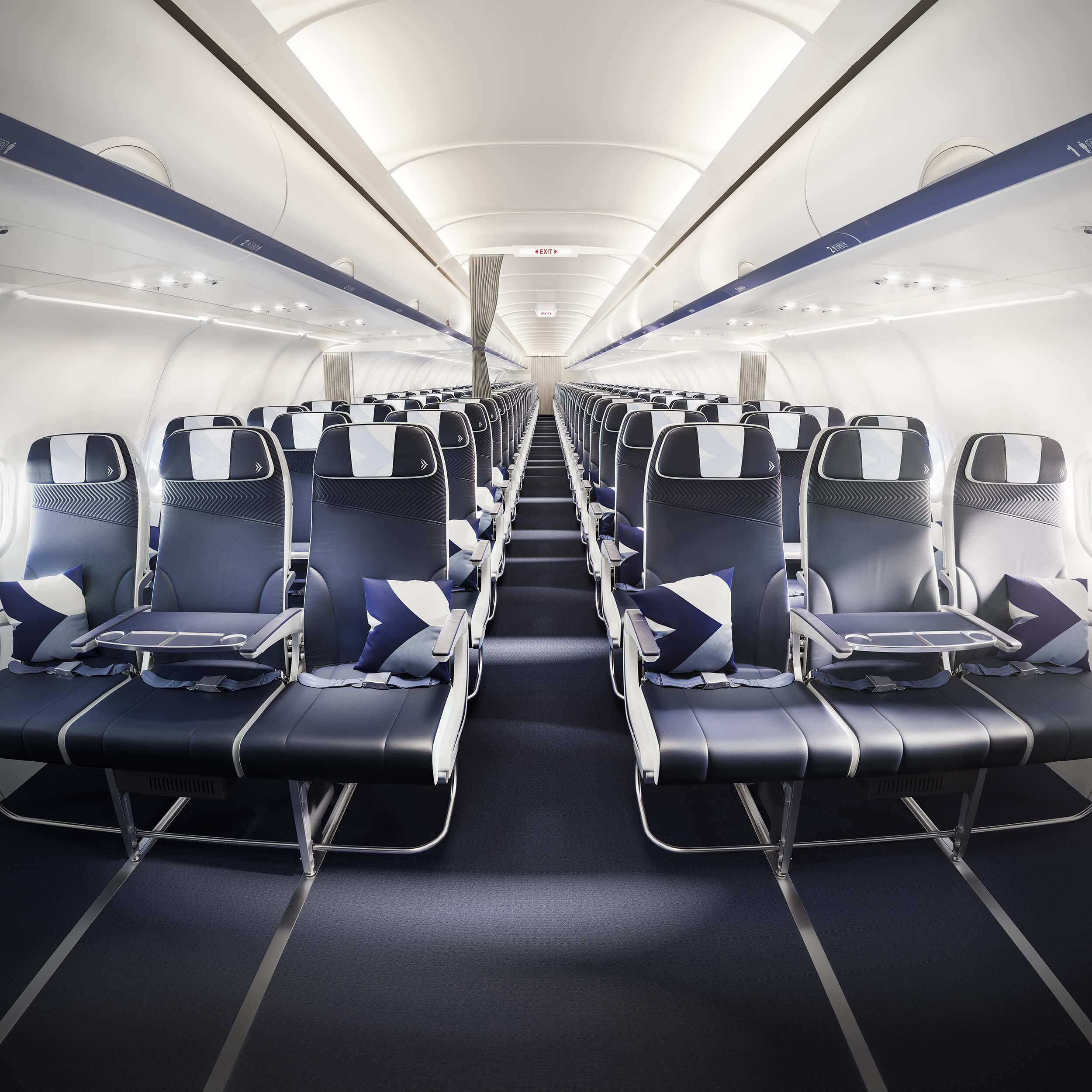 Full view of the Aegean Airlines Neo aircraft cabin interior