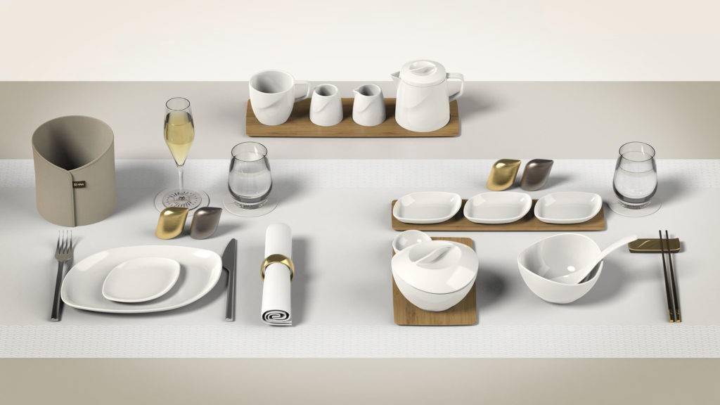 A selection of dinnerware custom designed for HNA