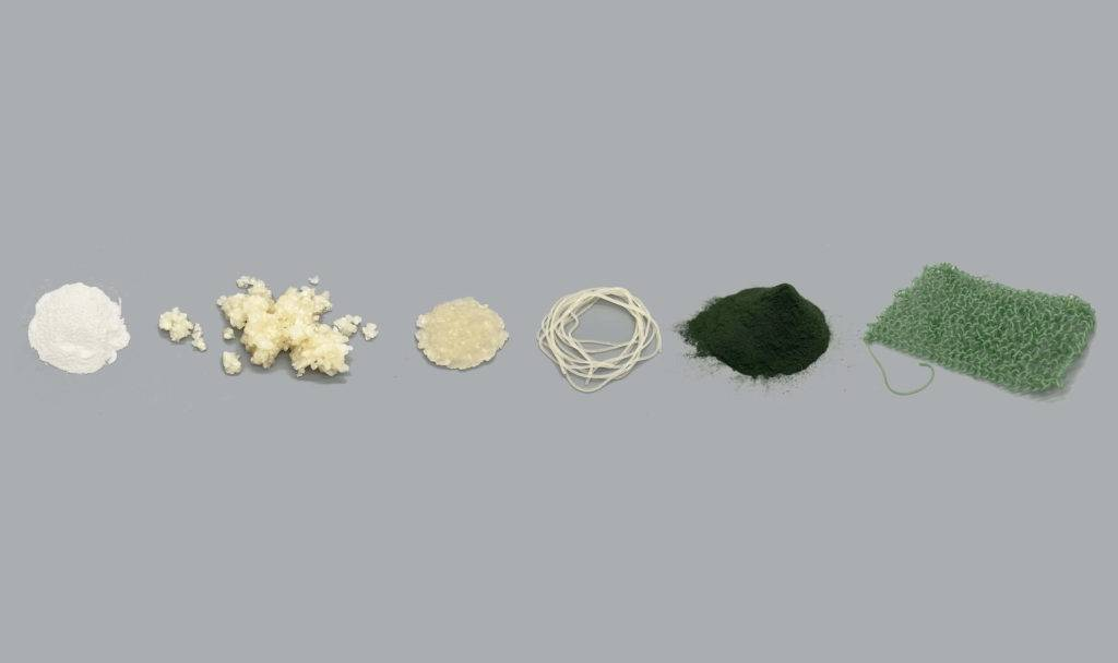 Algae broken down and shaped into different forms including powder, thread and yarn