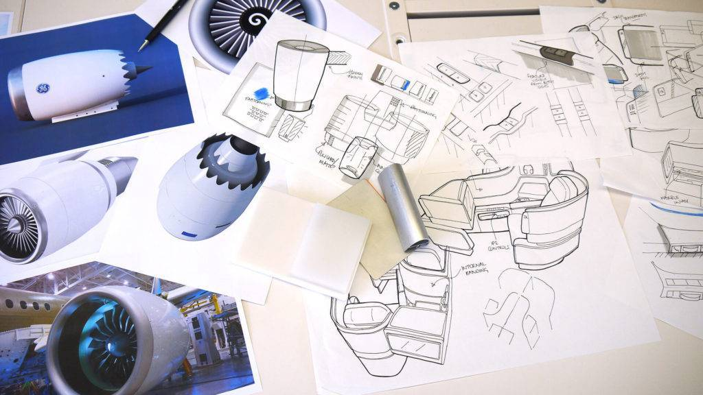 Sketches and images showing elements of the design process for United Airlines