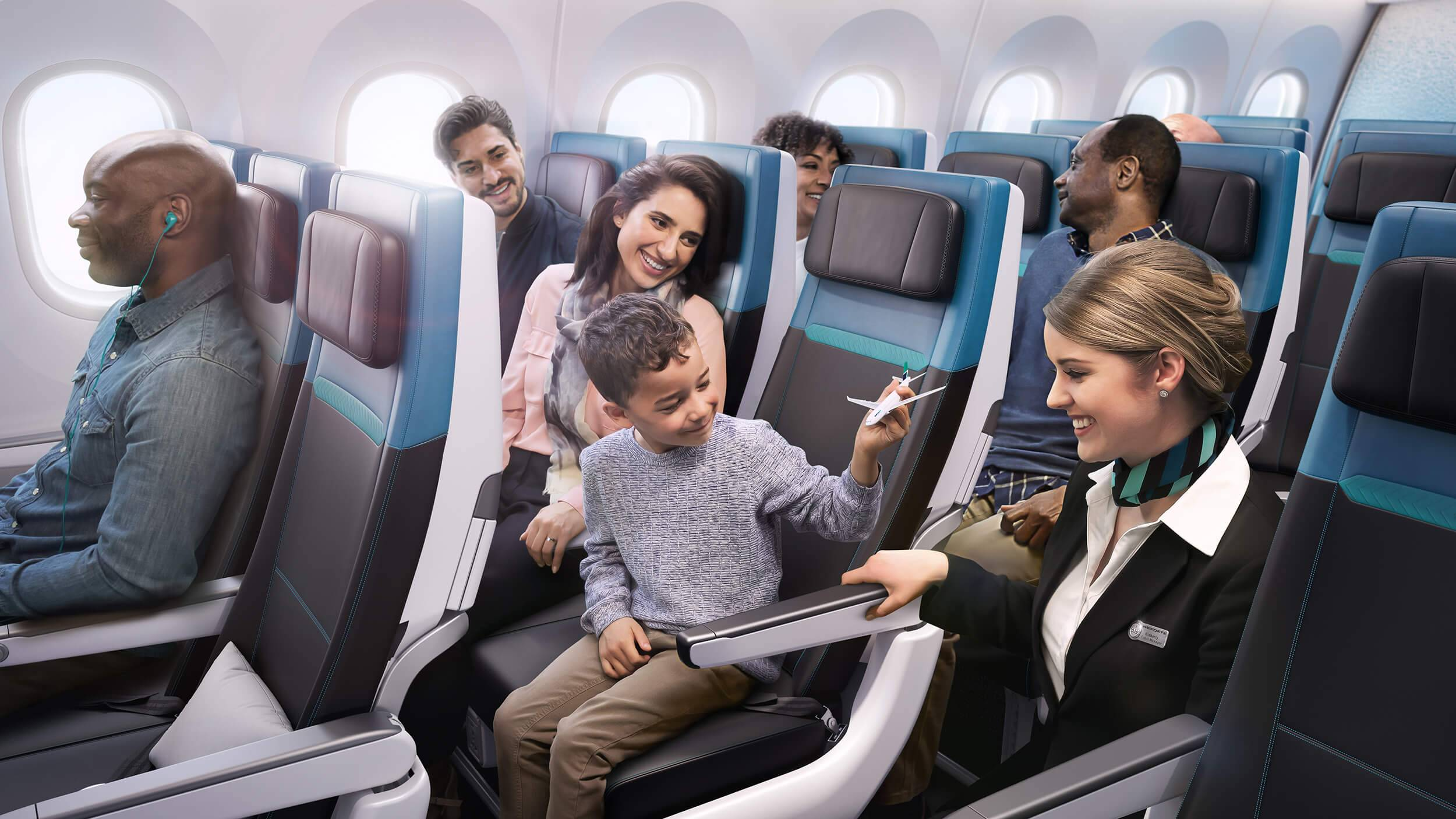 Smiling passengers relaxed in their seats in the WestJet 787 Economy Class cabin